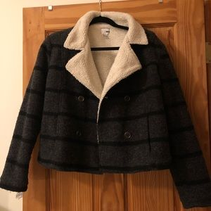 Sherpa lined cropped jacket